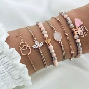 "Beautiful ""Ocean"" Pink 6 piece Bracelet Set"